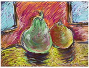 a drawing of two pears