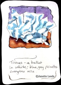 A watercolour of crumpled tissues