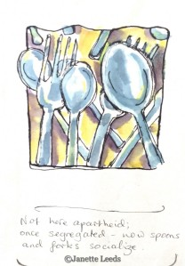 Forks and spoons laying together
