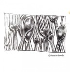 spoons and forks, pencil drawing