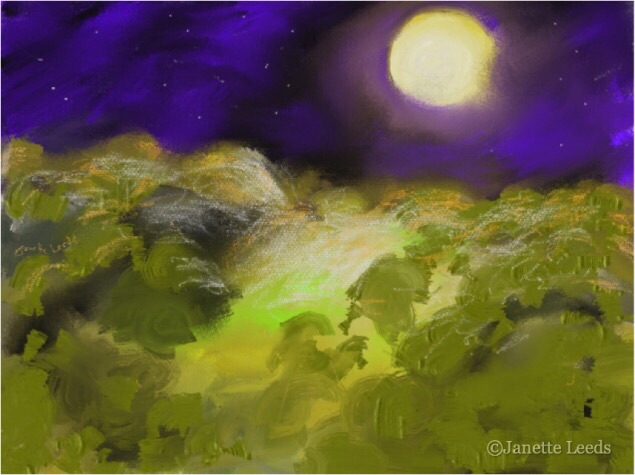 Moonlight over a landscape