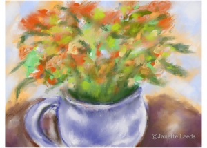 Vase of orange flowers