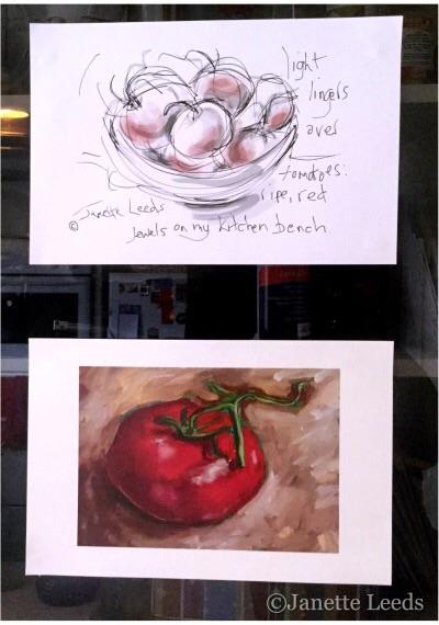 Art prints on kitchen cabinet