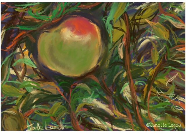 "Apple in a tree pastl on blue paper in the ""Art Set Pro"" app."