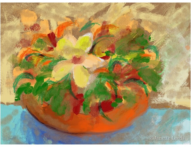 Flowers in an Orange bowl