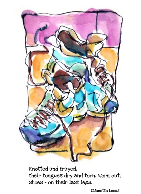 Painting of shoes and a haiku