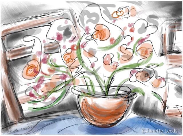 Flowers in an orange vase