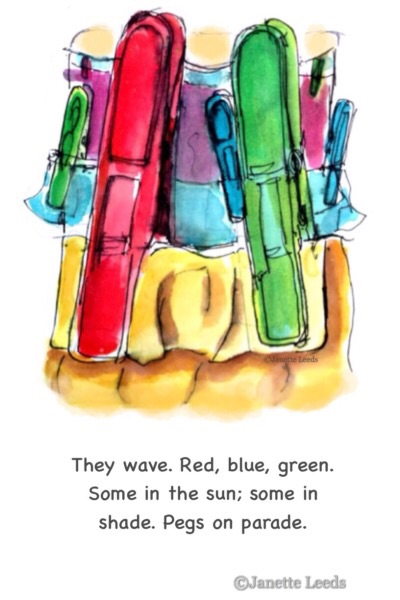 Watercolour of pegs