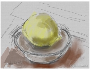 A lemon in a bowl