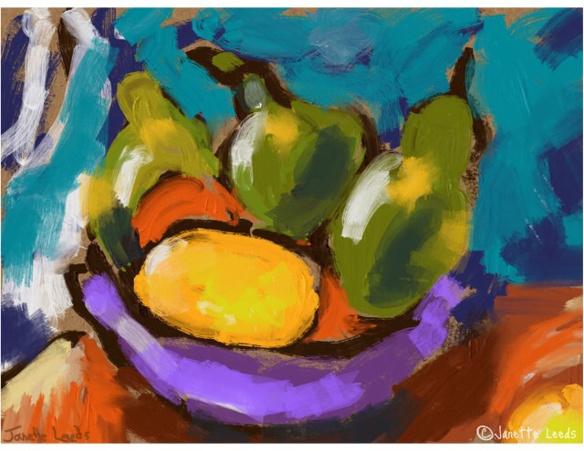 Pears and lemon painting