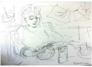 Drawing of woman sitting