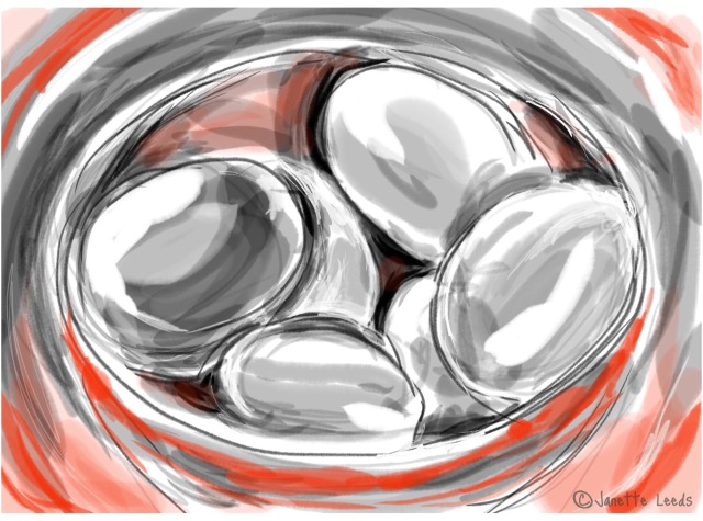 Eggs in a red bowl