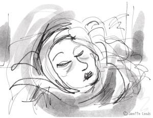 Drawing of woman sleeping