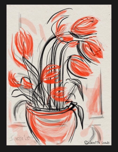 Red Zen Brush Flowers