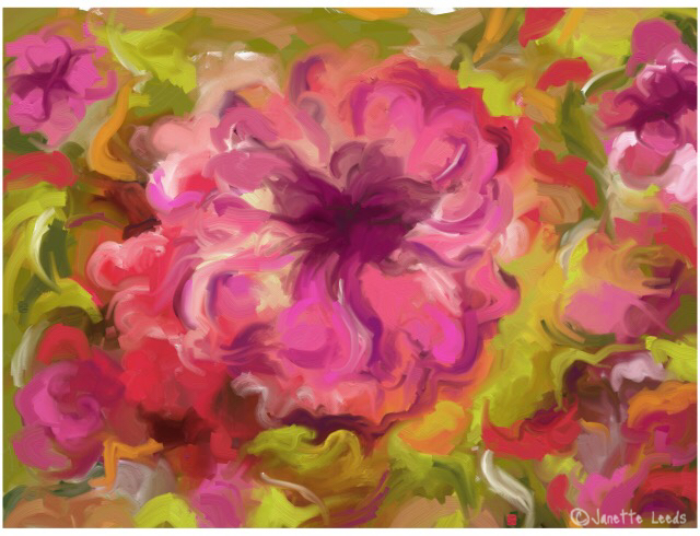 Pink flower painting
