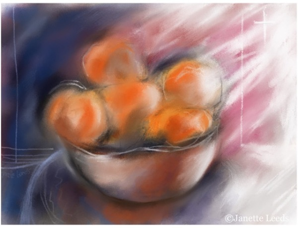 Oranges in a bowl painting