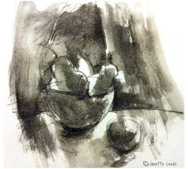 Pencil wash drawing of pears