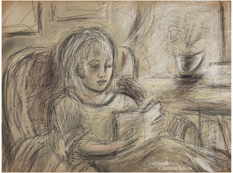 Drawing of a woman reading