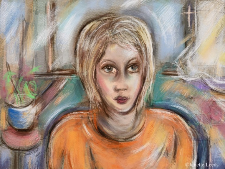 Painting of woman in an orange top.