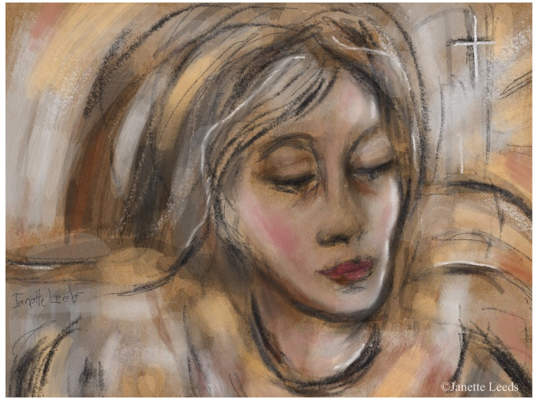 Pastel of woman's face