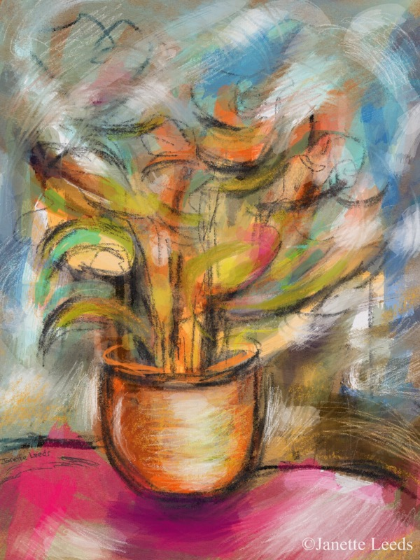 Painting of a vase of flowers.