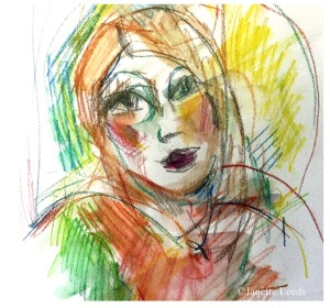 Watercolour of woman's face
