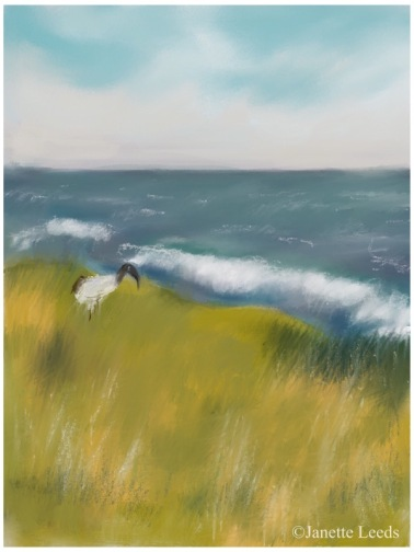 Seascape with bird painting
