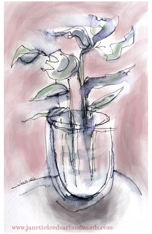 Painting of a plant in a vase