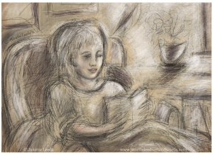Drawing of a girl reading