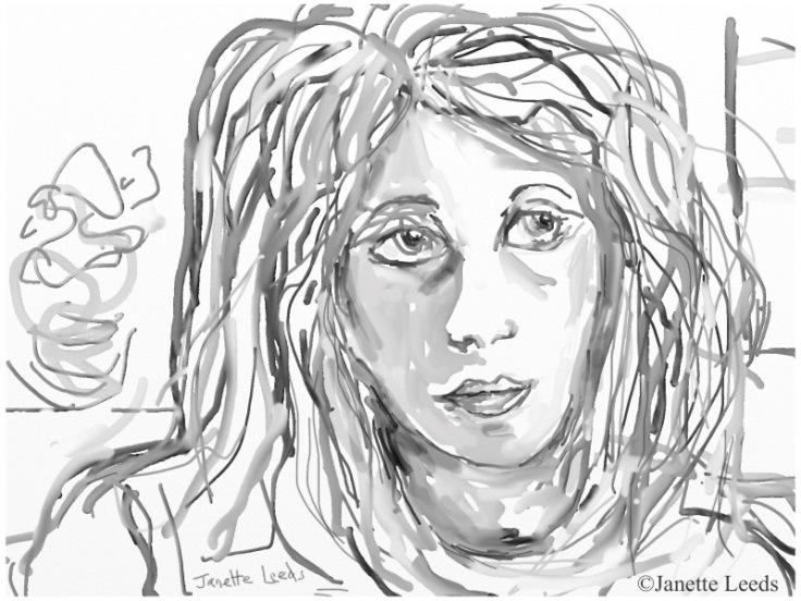 "Watercolour of women""s face"