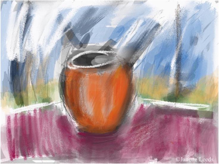 Orange mug painting