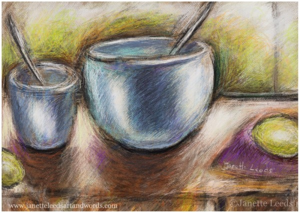 Drawing of bowls and lemons