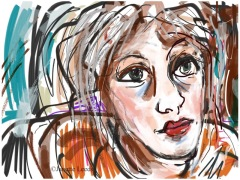 Woman's face in mixed media