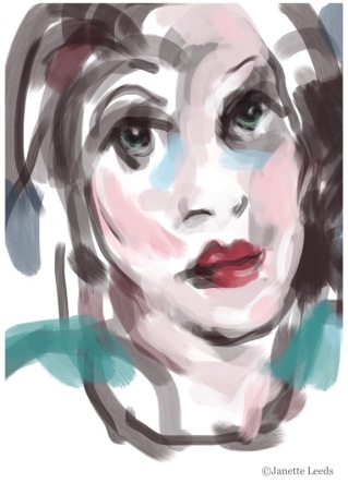Rough underpainting of a woman's face