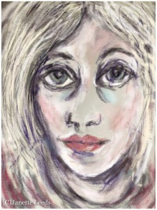 A drawing of a woman's face