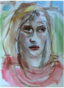 Watercolour of a woman's face
