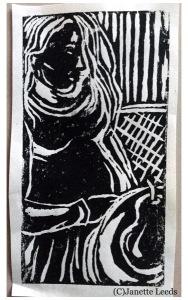 Linocut print of a pregnant woman