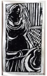 Linocut print of a pregnant woman