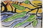 A linocut of leaves