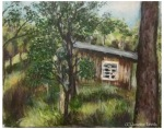 Painting of bush and a house
