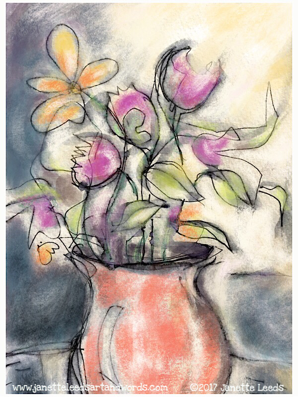 Drawing of flowers in a vase
