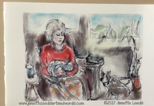 Drawing of a woman and two dogs