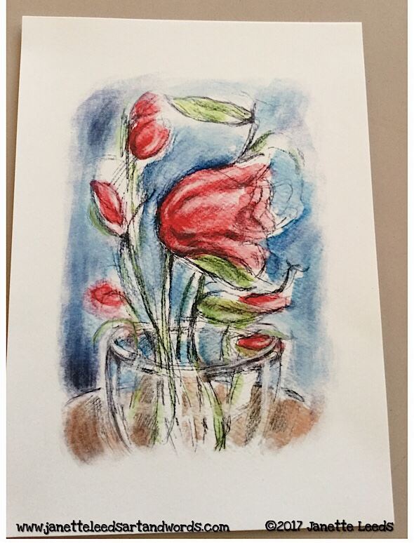 Red flower inkjet print