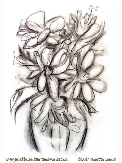Pencil drawing of a vase of flowers