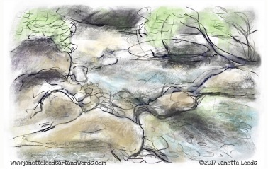 Drawing of rocks and a stream