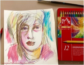 Pic of face and coloured pencil tin