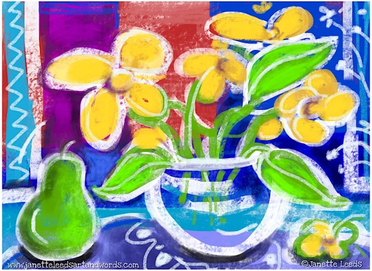 Pear and flower drawing