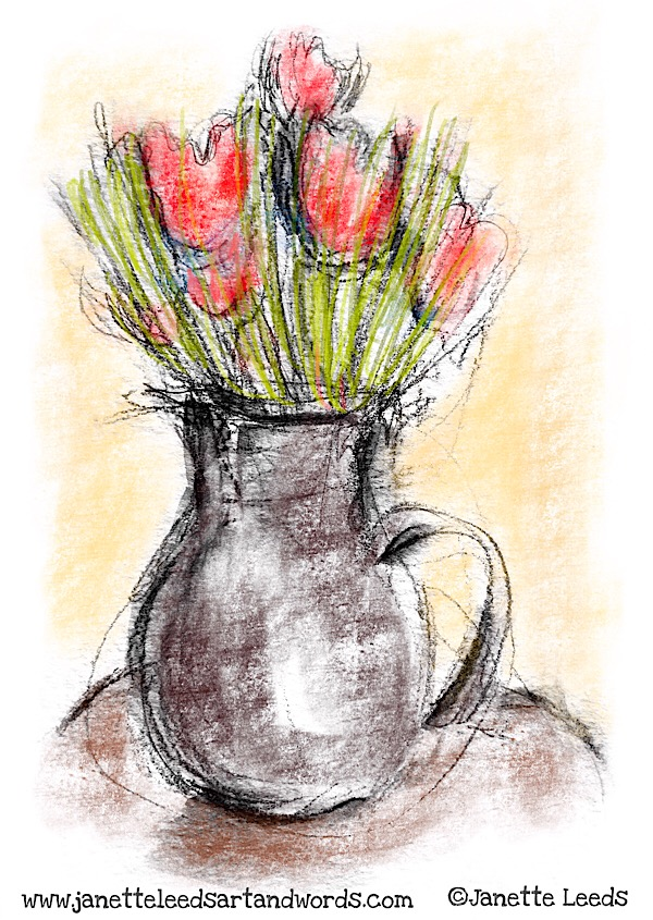 Pencil drawing with art app media
