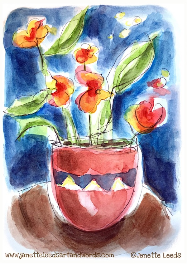 Flowers in a vase watercolour
