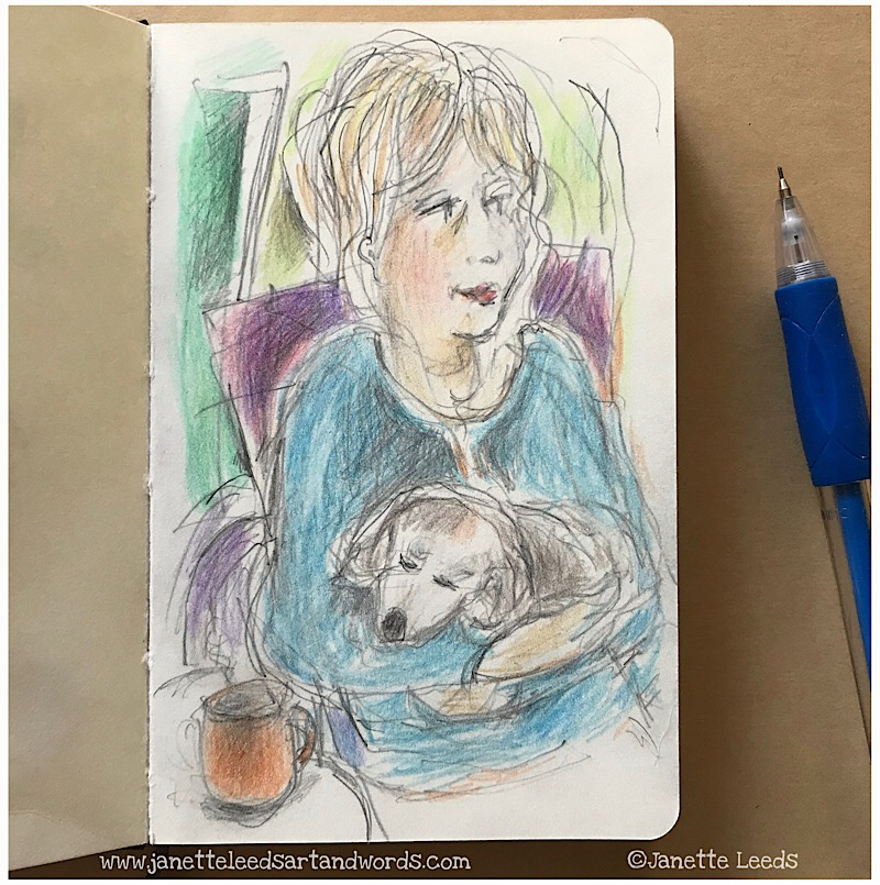 Pencil Sketch of woman and dog